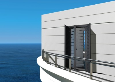 Modern house exterior with balcony and seascape view